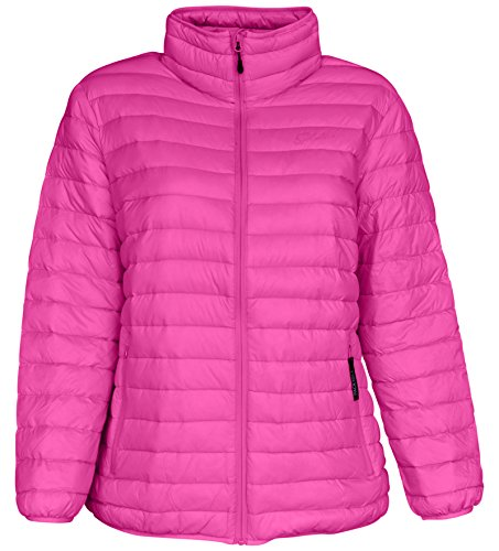 (Sportcaster Women's Plus Size Packable Down Jacket (1X, Bubble Gum Pink))