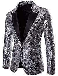 65f7e2ad820 Charm Mens Shining Suit for Host One Button Blazer Coat Jacket Sequin Party  Cocktail
