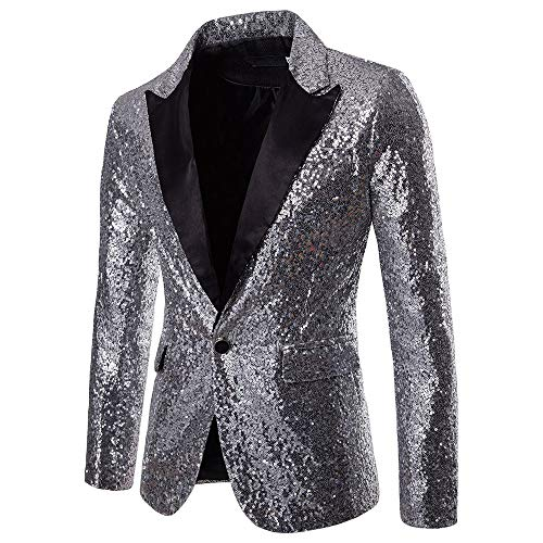 Toimothcn Charm Men's Sequin Casual One Button Fit Suit Blazer Coat Jacket Party(Sliver,S)
