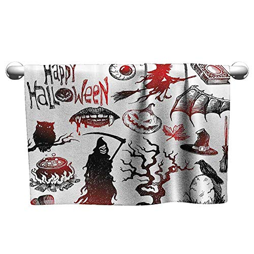 (DUCKIL Custom Towel Halloween Decorations Collection Halloween Objects Scary Retro Evil Dead Skeleton Witch and Magic Book Picture Fancy Bath Sheet 55 x 27 inch Black)