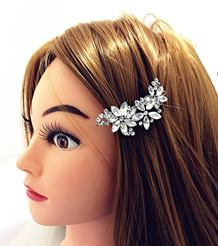 QTMY Crystal Rhinestone Flower Hair Clip Pin Jewelry Hair Accessories (Wholesale Rhinestone Pins)