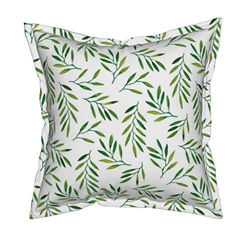 Roostery Willow Organic Cotton Sateen Throw Pillow Cover - Leaves Leaf Green Tropics Tropical Palm by Jillbyers - Flanged Cover w Optional Insert ()