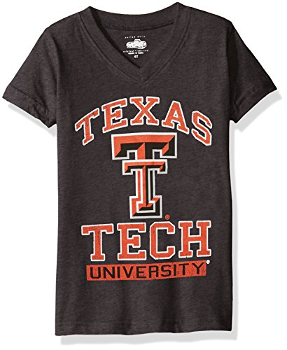 - NCAA Texas Tech Red Raiders Children Girls V-Neck Short Sleeve Tee,6,Black Blend