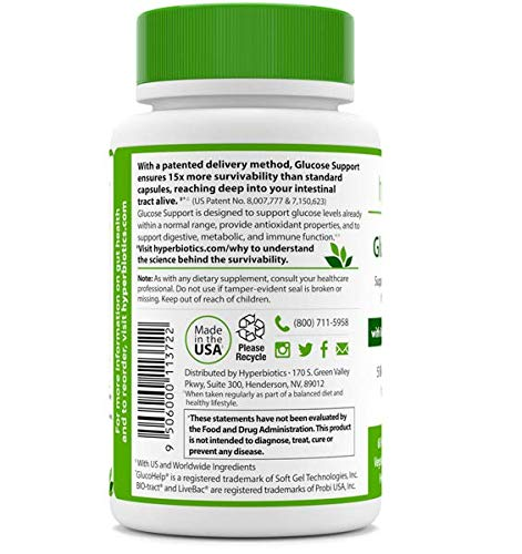 Hyperbiotics Glucose Support: Targeted Probiotics with Banaba Leaf Extract – Promotes Healthy Blood Sugar Levels, Digestion and Metabolism – 15x More Effective than Capsules – 60 Time-Release Tablets