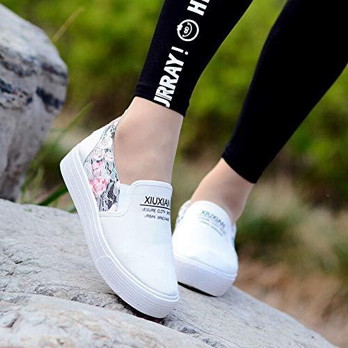 Dentelle Basket Tennis Sneakers Toile Fleur Semelle Epaisse Wealsex Décontracté Chaussure Basse Blanc Plateform Femme Confort X1ZXqd