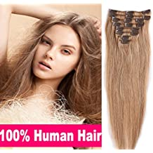 """100% Real Remy Clip in Human Hair Extensions #27 Dark Blonde 16-22inch Grade AAAAA Natural Hair Full Head Standard Weft 8 Pieces 18 Clips Long Smooth Soft Silky Straight 22"""" / 22 inch 80g"""