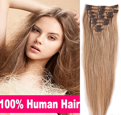 100% Real Remy Clip in Human Hair Extensions #27 Dark Blonde