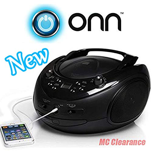 ONN CD/AM/FM Portable Boombox ONA16AA005 with 3.5mm Auxiliary Line-in Jack for MP3 Players - Black (Onn Cd Boombox)