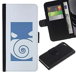 Protector de cuero de la PU de la cubierta del estilo de la carpeta del tirón BY RAYDREAMMM - Apple Iphone 5 / 5S - Empuje Monster