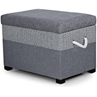Joveco Fabric Storage Ottoman Bench, Set of 2, Grey