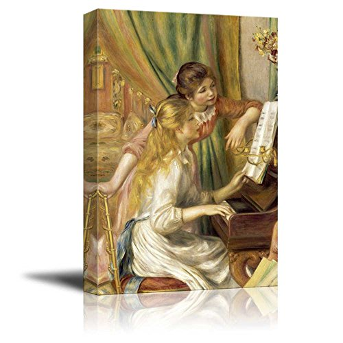 Wall26 - Young Girls at the Piano by Pierre-Auguste Renoir - Canvas Print Wall Art Famous Painting Reproduction - 32