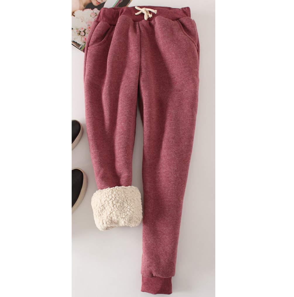 Womens Warm Sherpa Lined Athletic Sweatpants Jogger Fleece Pants Winter Comfortable Trousers Drawstring Waist Sweatpants with Pockets