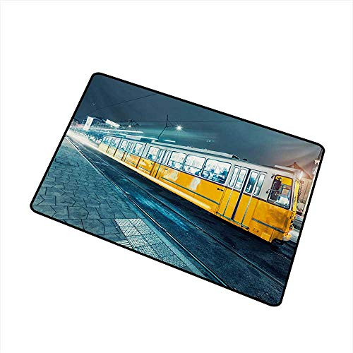 (Diycon Interior Door mat Yellow and Blue Old Tram in The City Center Vintage Urban Train Station European Town Image W31 xL47 Mildew Proof)