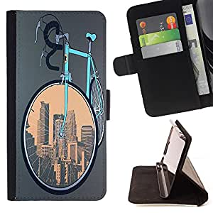 Dragon Case- Caja de la carpeta del caso en folio de cuero del tir¨®n de la cubierta protectora Shell FOR Sony Xperia m55w Z3 Compact Mini- Bicycle Retro
