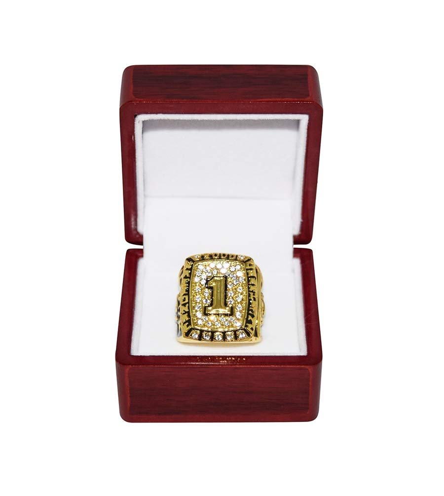 UNIVERSITY OF OKLAHOMA SOONERS (Danny Cork) 2000 NATIONAL CHAMPIONS (Playing Vs. Florida State) Rare Collectible Replica Gold Football Championship Ring with Cherrywood Display Box