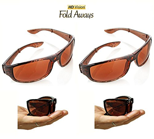 HD Vision Fold Aways High Definition Sunglasses Deluxe- 2 Pack - Seen Tv High As Sunglasses On Definition
