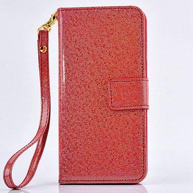 Fundas y estuches para teléfonos móviles, Caja de cuero de la PU del brillo de alta calidad para iphone 6s más / 6 Plus (colores surtidos) ( Color : Rojo )