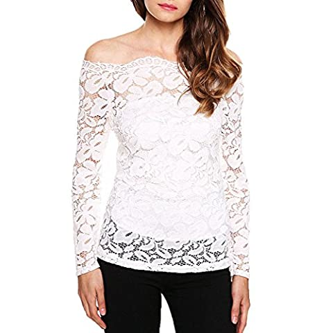 Women's Sexy Boat Neck off shoulder Floral Lace Long Sleeve Top Shirt (Small, White) - Best White Blouse