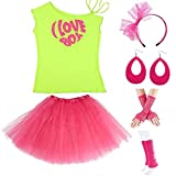 Womens 80s Accessories, I Love The 80's / 80s Pop/Sexy Lips Shoulder T-Shirt Outfit/Tutu Skirt/Neon Fanny Packs for 1980s Party Costume,S1,Green Love,L