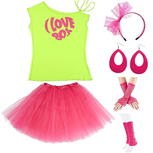 ZeroShop Womens 80s Accessories, I Love The 80's / 80s Pop/Sexy Lips Shoulder T-Shirt Outfit/Tutu Skirt/Neon Fanny Packs for 1980s Party Costume,S1,Green Love,M