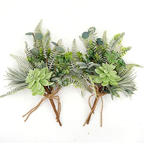 - idyllic Artificial Succulent Bouquet of Eucalyptus Leaves, Summer-Vibe Greenery Decorations for Table Home Garden Party Décor, 13 Inches Tall, 2 Pack
