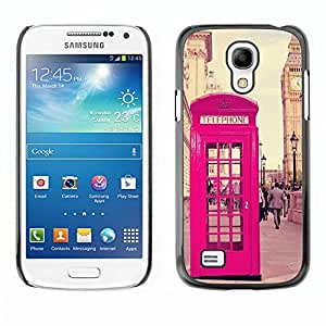 FlareStar Colour Printing Phone Booth Uk United Kingdom Big Ben cáscara Funda Case Caso de plástico para SAMSUNG Galaxy S4 mini (NOT FOR S4!!!) / i9190 / i9192