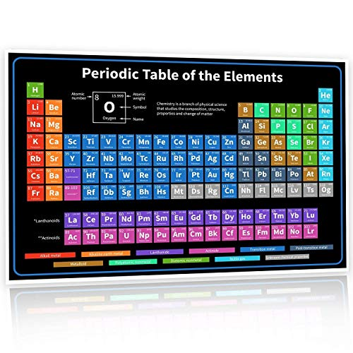 - Super XL Large 6 Ft Periodic Table Poster of Elements Vinyl 2019 Version | Chemistry Chart for Teachers, Students, Classroom Science Banner | Newest 118 Elements | Atomic Number, Weight (Black)