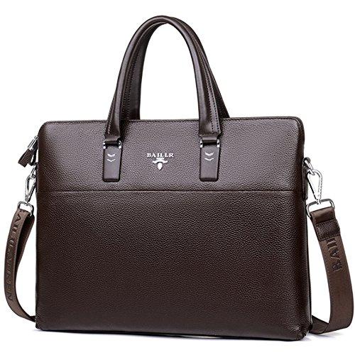 (JN3005-K) Bolso de hombro del bolso de cuero genuino de los hombres bolso de viaje ligero a4 de gran capacidad del bolso de la luz del bolso grande de 3 maneras a4 Marrón