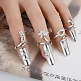 4 pcs Nail Jewels Rhinestone Tip Rings, Nail Art Charms Accessories Silver Women's Fashion Protecting Fingernail Glitter Nail DIY Decoration - Happy Hours