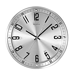 Bulova C4646 Silhouette Silver Dial Stainless Steel Wall Clock