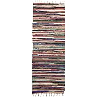 Royal Fiesta Chindi 2 x 6 Long Area Runner Rag Rug Colorful Striped Braided Recycled Fabric For Hallways