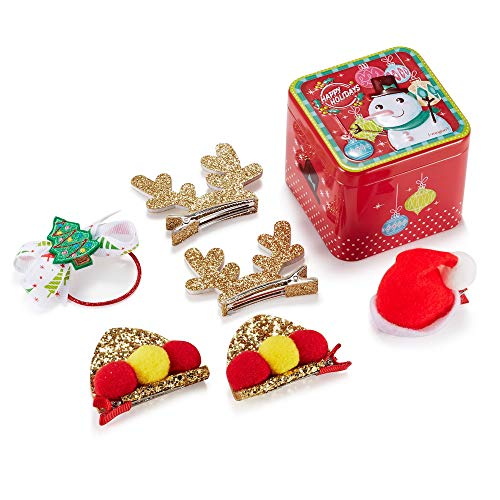 (Christmas Hair Clips for Girls, Super Cute 6 pcs 4 Style Hand-made Glitter Hair Clips with Santa Gift Box)