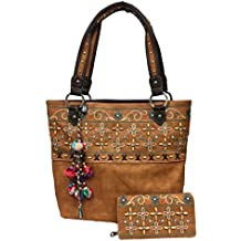 Montana West Tote Purse and Wallet Set Floral Embroidery Pompom Charm