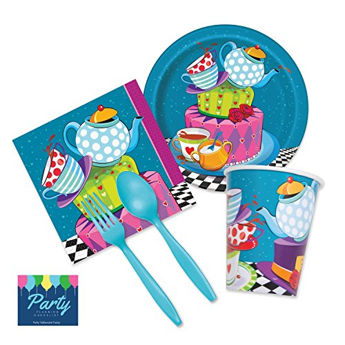 Kiwi Deluxe Party Kit (Mad Hatter Unbirthday Tea Party Supplies - Deluxe Tableware Set for 16 Guests - Plates, Napkins, Plasticware,)