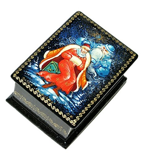 Hand Painted Lacquer Russian (Morozko Russian Fairy Folk Tale Inspired Winter Palekh Miniature Hand Painted Lacquer Box)