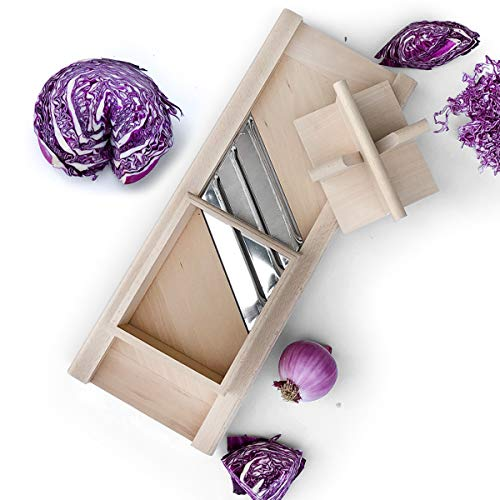Raw Rutes -Traditional Wooden Cabbage Shredder Slicer with Hand Guard for Finely Cut Sauerkraut and Coleslaw - Heirloom Quality - Made in Europe! (Best Cabbage For Coleslaw)