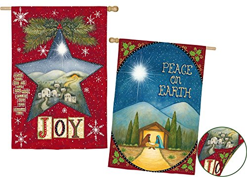 Evergreen Joy and Peace on Earth Suede House Flag, 29 x 43 inches For Sale