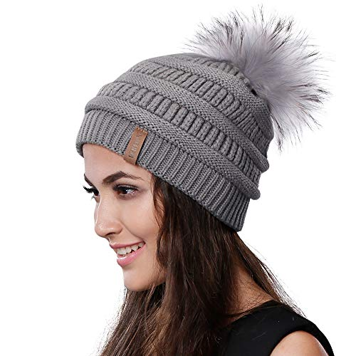 0558e4c81d1 Womens Winter Knit Beanie Hat Slouchy Skull Cap Real Fur Pom Pom Hats Cap  For Girls