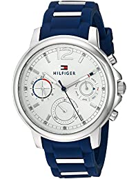 Tommy Hilfiger Women's 'CLAUDIA' Quartz Stainless Steel and Rubber Casual Watch, Color:Blue (Model: 1781746)