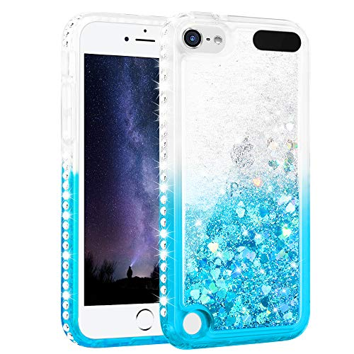 Maxdara Case for iPod Touch 6 iPod Touch 5 Generation Glitter Liquid Case for Girls Women with Bling Sparkle Rhinestone Diamond Soft TPU Luxury Pretty Fashion Case for Touch 6th 5th (Teal)