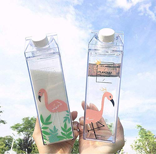 Amandaus 500ml Portable Cute Cartoo Flamingos Water Drinking Cup with Handle Eco-Friendly Water Bottle