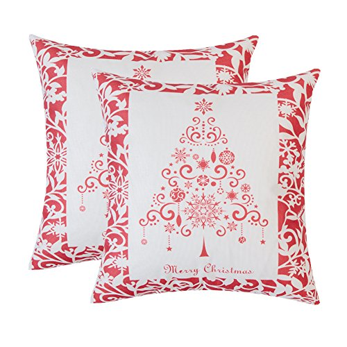Modem Cover - Cushion Covers Throw Pillowcase Square 18 X 18 Inch , Christmas Tree and Floral Decorative Print Pillow Case for Couch Sofa Home Decor Car Seat,Christmas Red,Set of 2