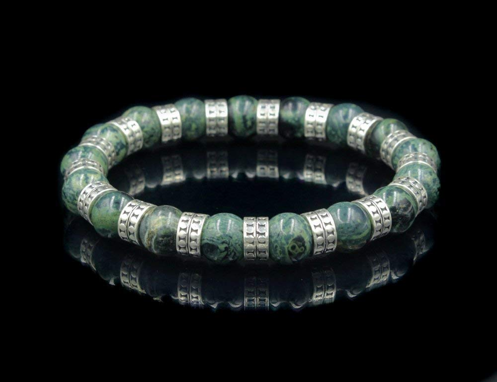 Mens Silver Bracelet Jade Bracelet Men Mens Jade and Sterling Silver Bracelet