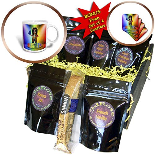 3dRose Doreen Erhardt Christmas Collection - Tie dye Stage and Blitzen the Party Animal Hippie Lover Christmas - Coffee Gift Baskets - Coffee Gift Basket (cgb_290913_1)
