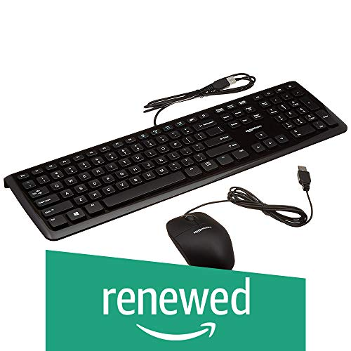 AmazonBasics Wired Keyboard and Wired Mouse Bundle Pack (Renewed)