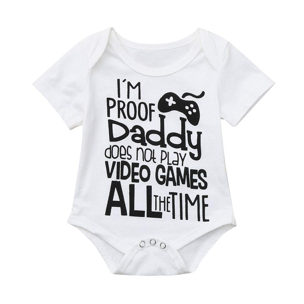 Koolee_Baby Clothes Newborn Baby Onesie Infant Boys Girls Long/Short Sleeves Rompers Jumpsuit Letter Printed Tops (3-6 Months, White A)