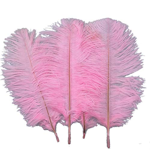 Sowder 20pcs Natural 10-12inch(25-30cm) Ostrich Feathers Plume Wedding Centerpieces Home - Pink Ostrich Feathers