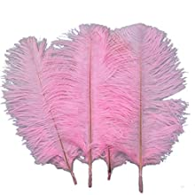 Sowder 20pcs Natural 10-12inch(25-30cm) Ostrich Feathers Plume Wedding Centerpieces Home Decoration(Pink)