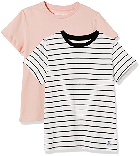 Kid Nation Kids' 2-Pack Short-Sleeve Crew-Neck T-Shirt for Boys or Girls Small Seashell Pink + White Stripe