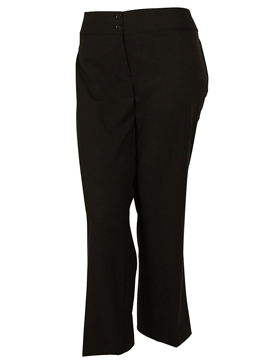 Style & Co. Womens Plus Stretch Flat Front Dress Pants Espresso Bean)